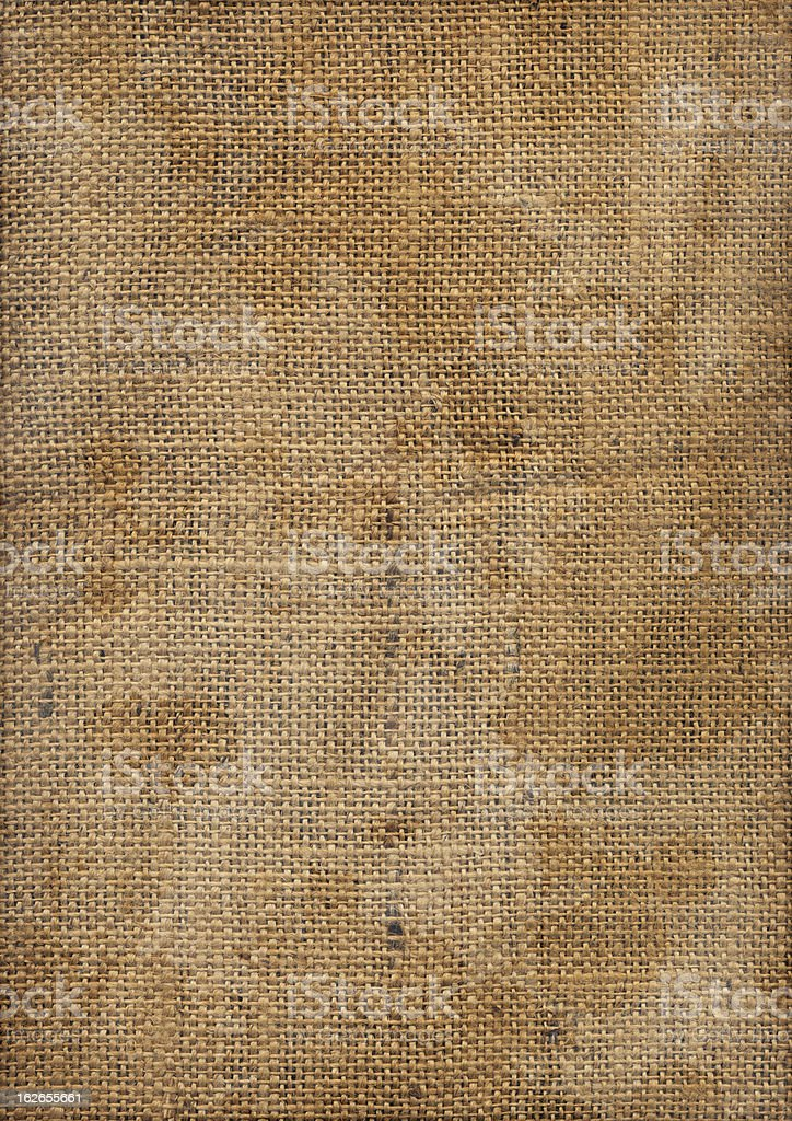 Hi-Res Old Burlap Canvas Crumpled Stained Dappled Vignette Grunge Texture royalty-free stock photo