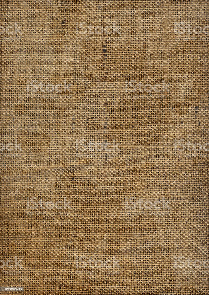 Hi-Res Old Coarse Burlap Canvas Stained Dappled Vignette Grunge Texture royalty-free stock photo