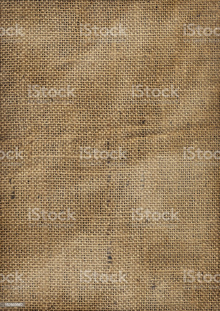 Hi-Res Old Coarse Wrinkled Burlap Fabric Vignette Grunge Texture royalty-free stock photo