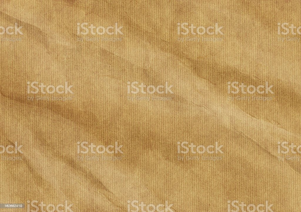Hi-Res Old Recycle Brown Striped Kraft Paper Wrinkled Grunge Texture stock photo