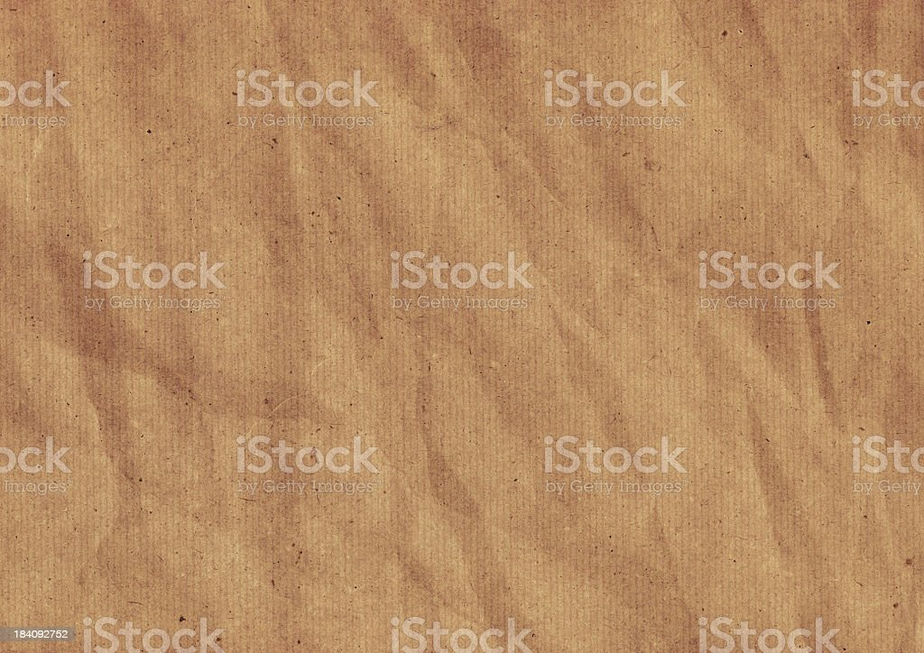 Hi-Res Old Recycle Brown Striped Kraft Paper Wrinkled Grunge Texture royalty-free stock photo