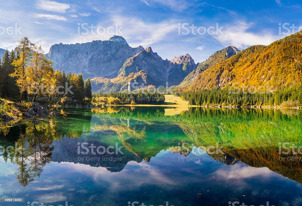 Hi-res panorama of mountain lake in the Alps stock photo