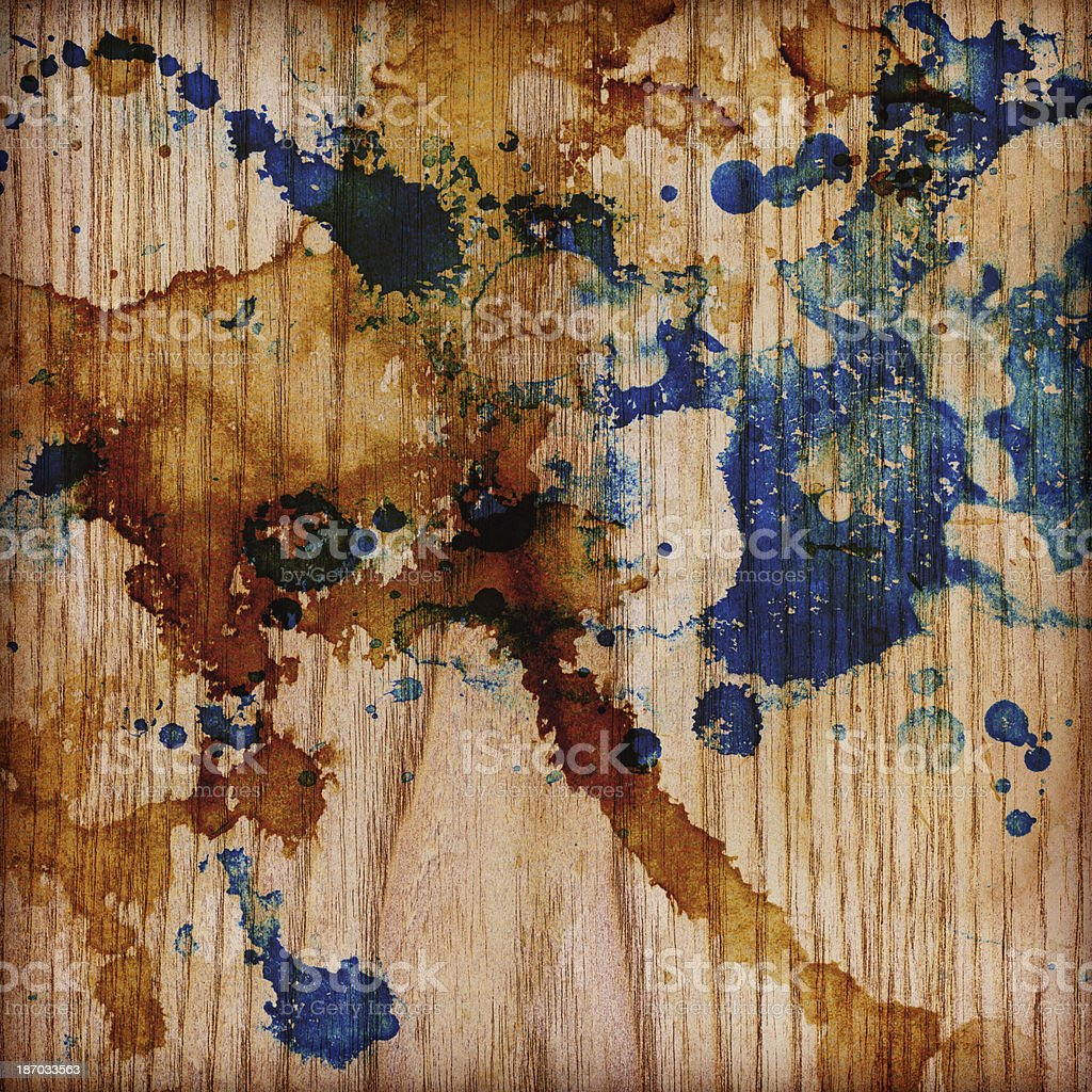 Hi-Res Pine Wood Veneer Ink Blotted Polychrome Grunge Vignette Texture royalty-free stock photo