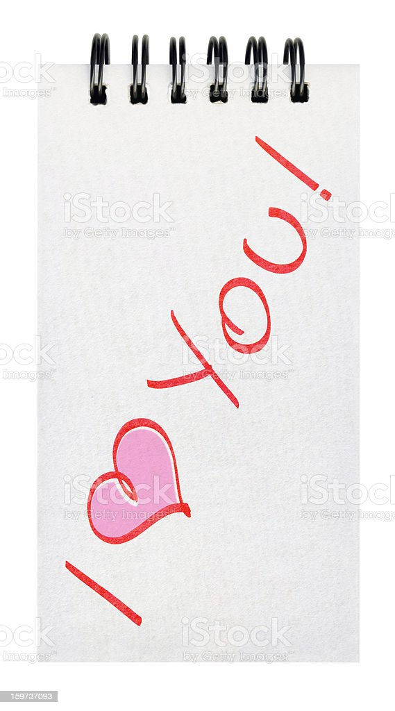 Hi-Res Valentine's Love Message Written on Spiral Notebook Page Isolated stock photo