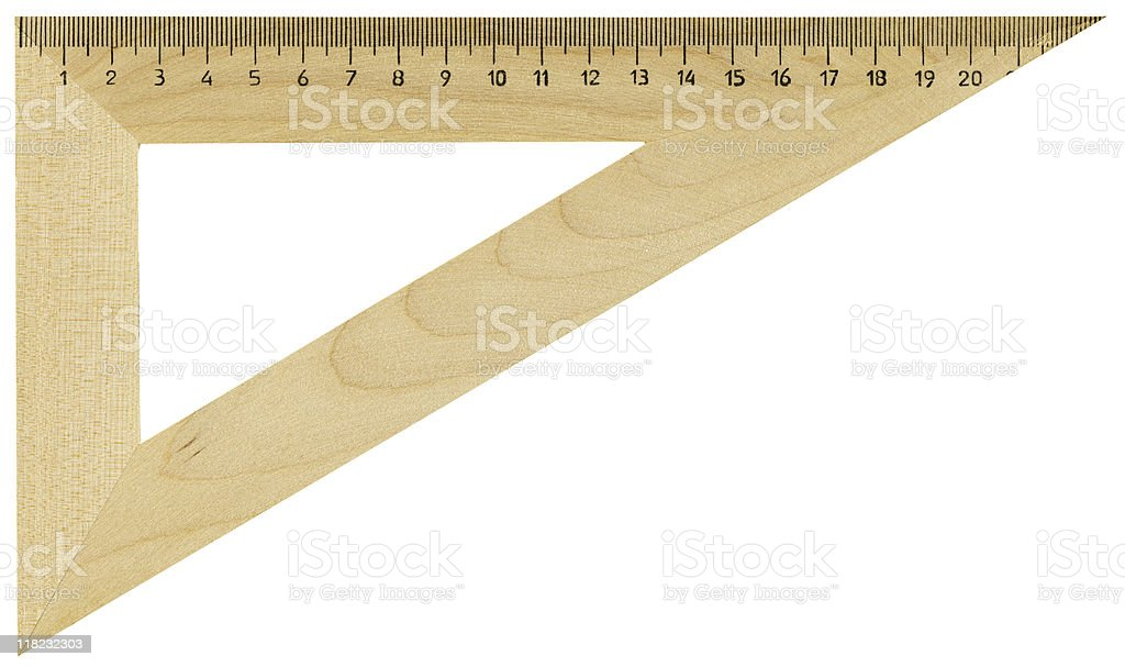 Hi-res wooden ruler with clipping path on white background stock photo