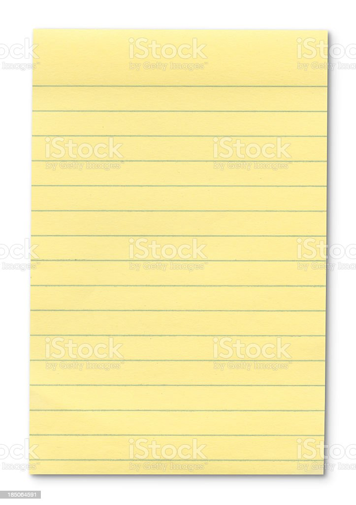 Hi-res Yellow Note Pad - with outline paths. stock photo