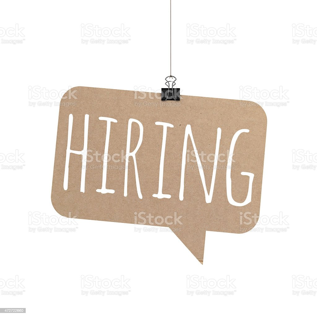 Hiring speech bubble hanging on a string stock photo