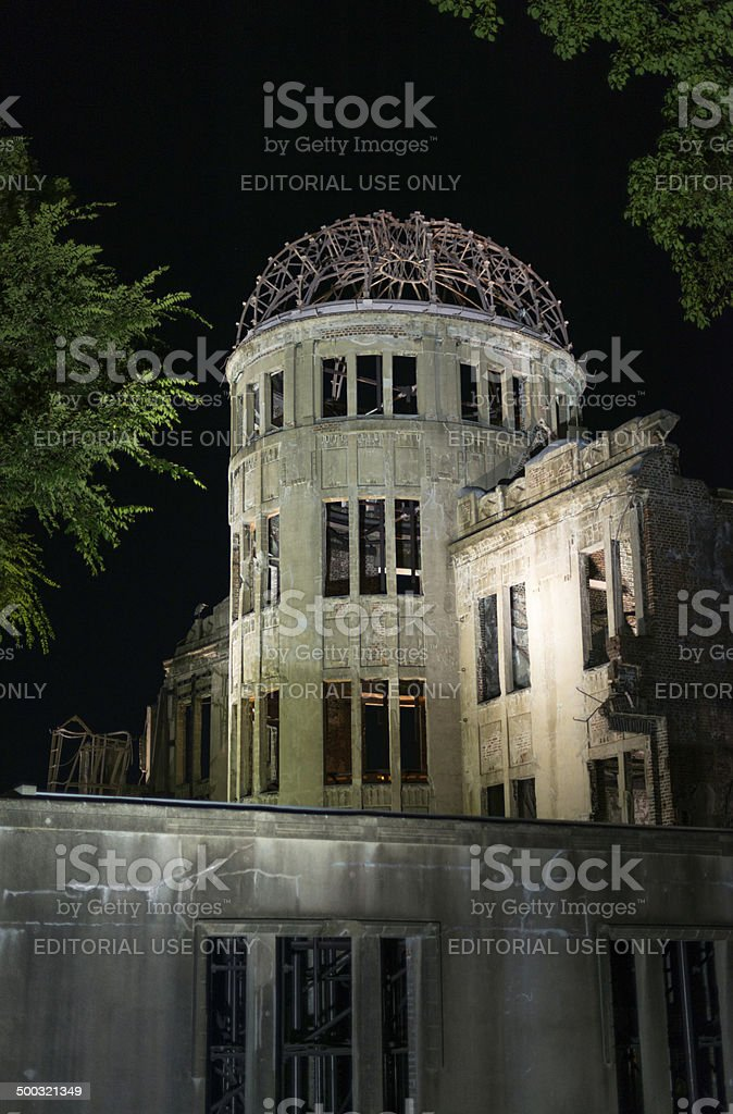 Hiroshima Atomic Bomb Dome memorial at night royalty-free stock photo