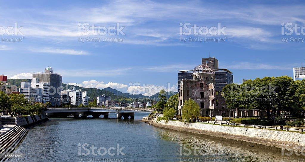 Hiroshima city and A-Bomb Dome, Japan stock photo