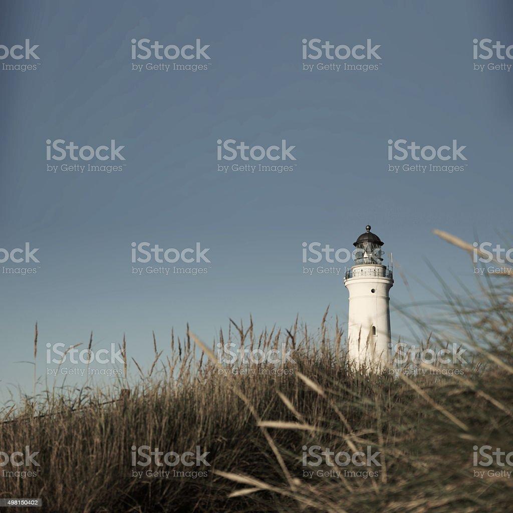 Hirtshals Lighthouse in Denmark's far North stock photo