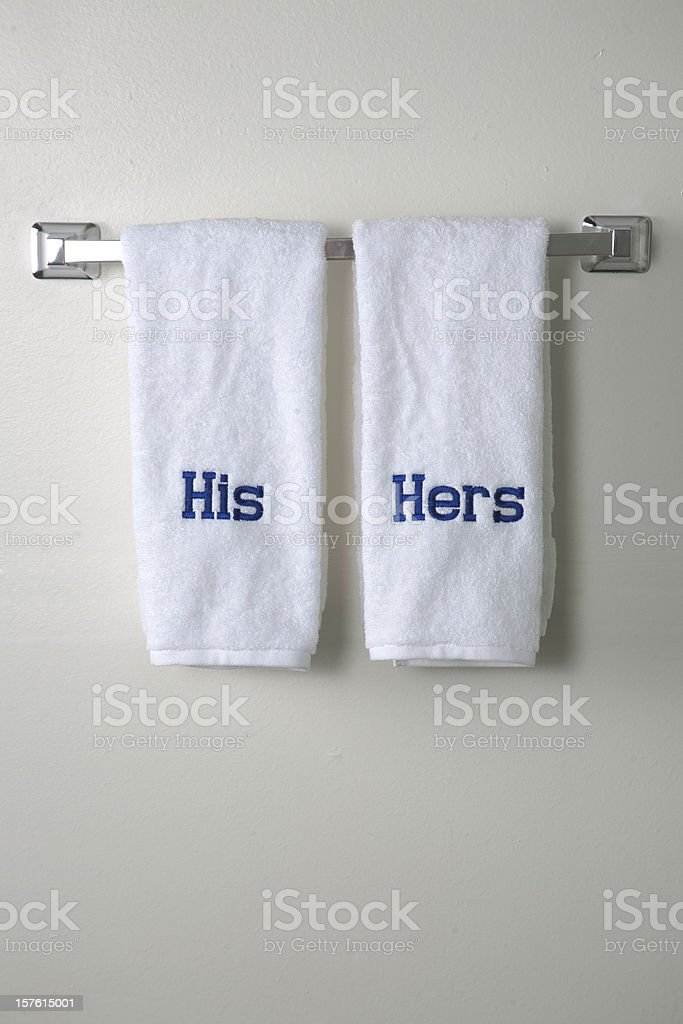 His and Hers Towels stock photo
