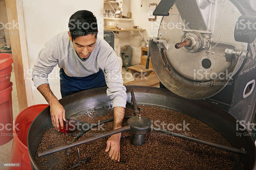His beans are brewed to perfection stock photo