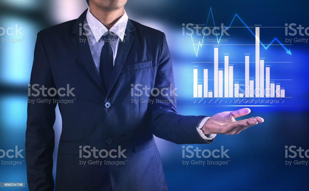 His business growth and progress . Mixed media stock photo