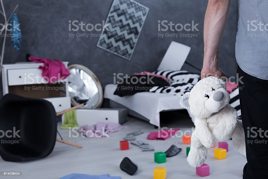 His child is in danger... stock photo