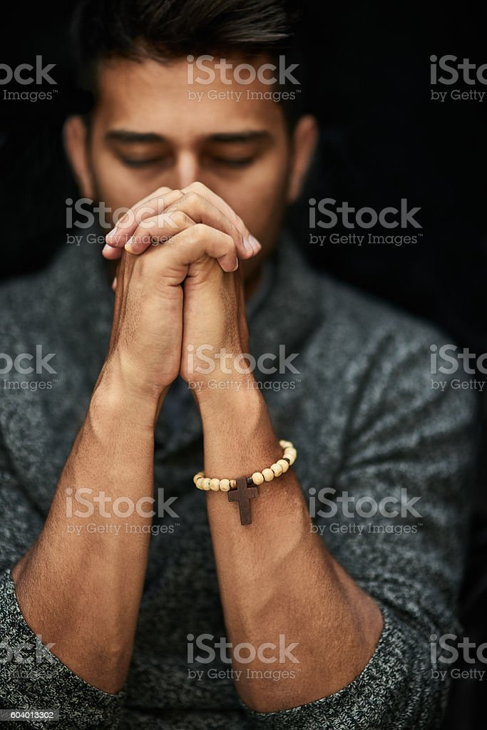 His faith is strong stock photo