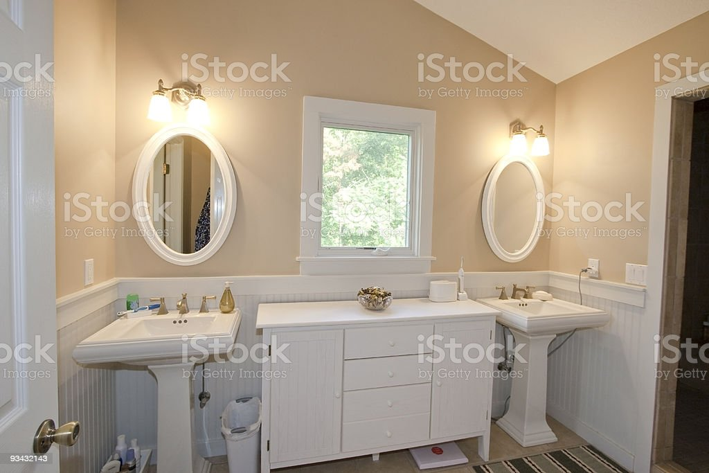 His & Her sinks in modern style bathroom stock photo
