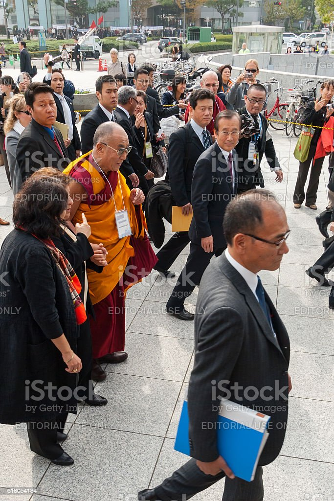 His Holiness the Dalai Lama in Hiroshima Peace Memorial Park stock photo