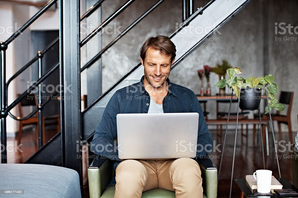 His house is totally wireless stock photo