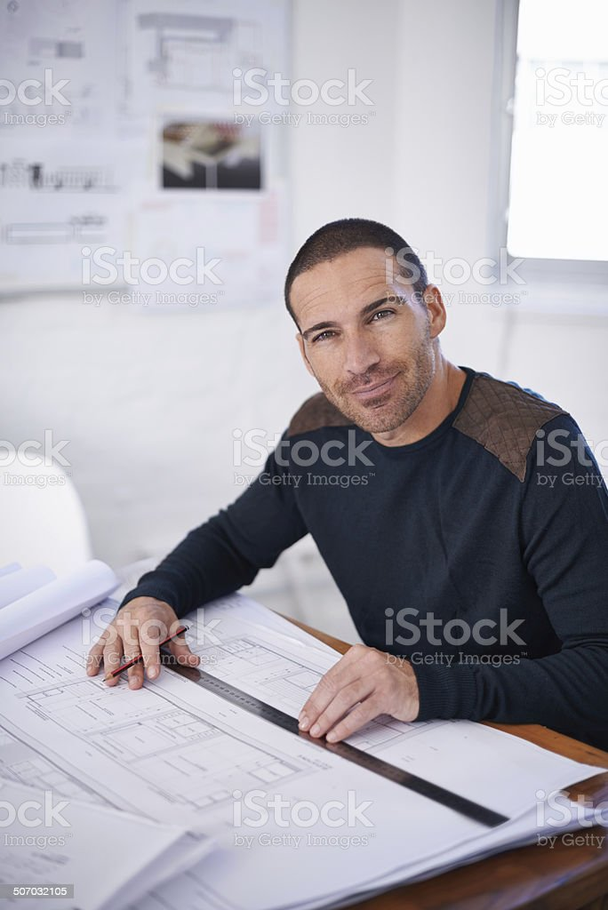 His ideas flow better in an uncluttered environment stock photo