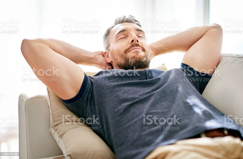 His time to unwind... stock photo