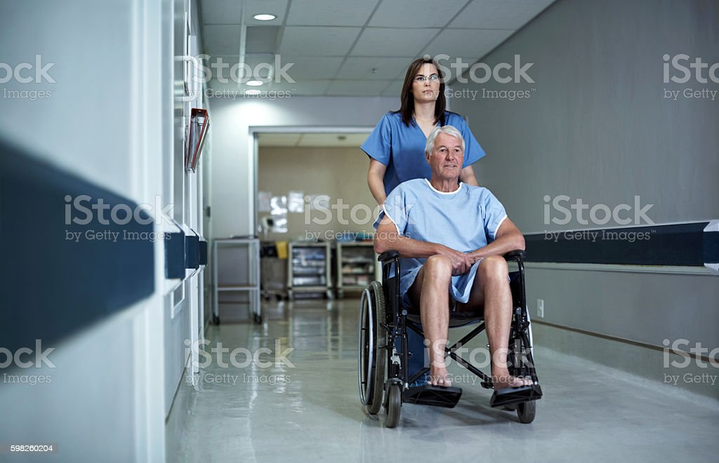 His treatment begins today stock photo