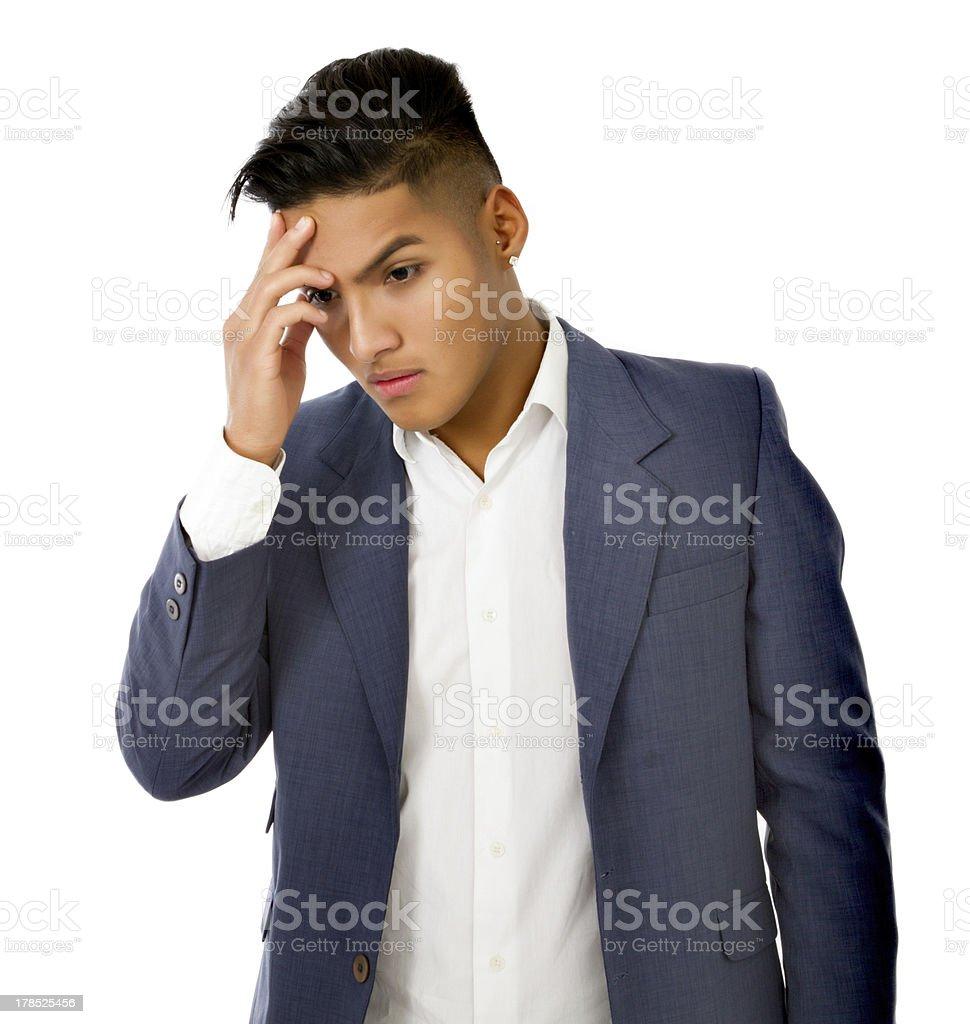 hispanic boy headache royalty-free stock photo