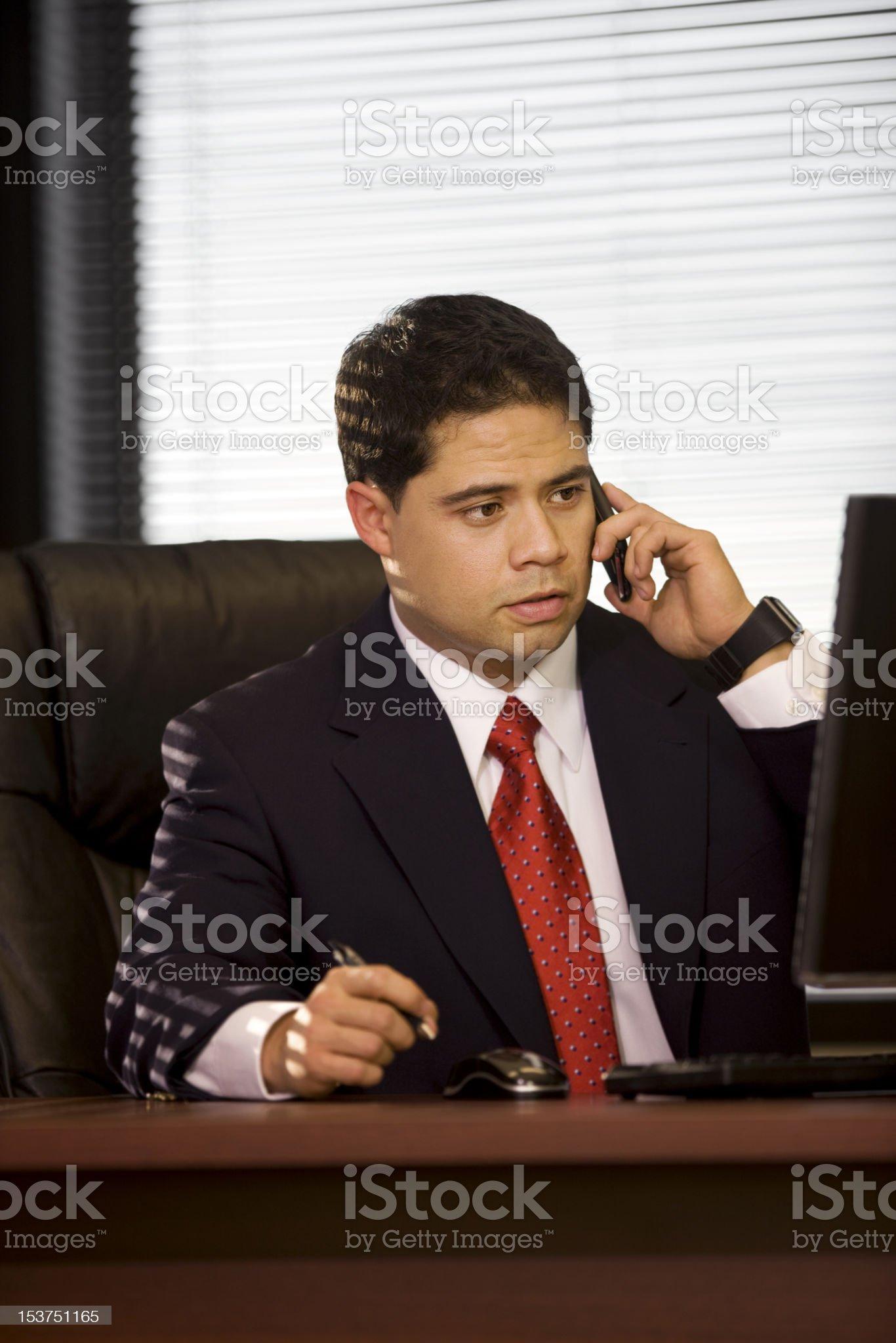 Hispanic Business Man on Cellphone royalty-free stock photo