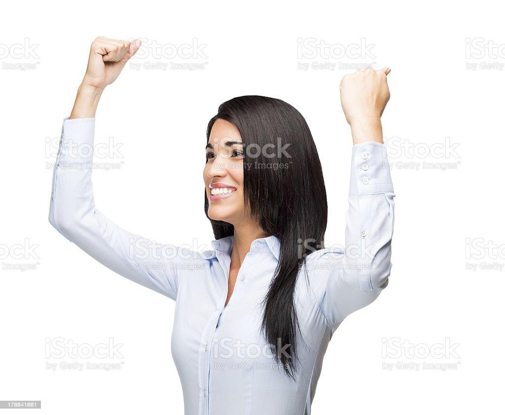 Hispanic business woman celebrating royalty-free stock photo