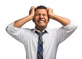 Hispanic businessman stressed out