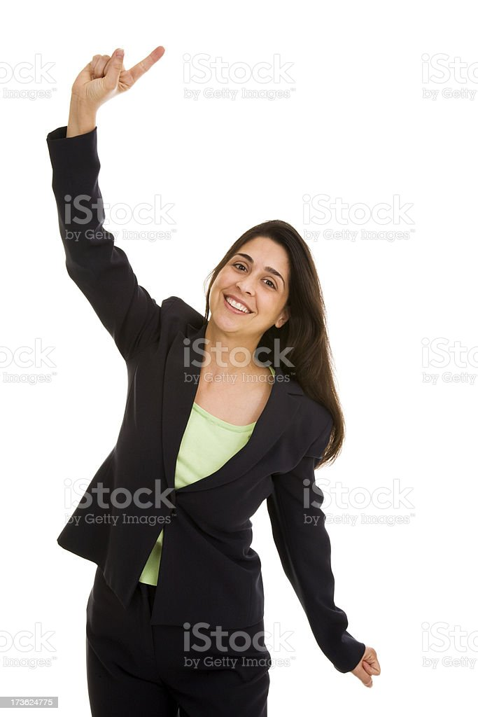 Hispanic businesswoman gesturing with one finger in air royalty-free stock photo