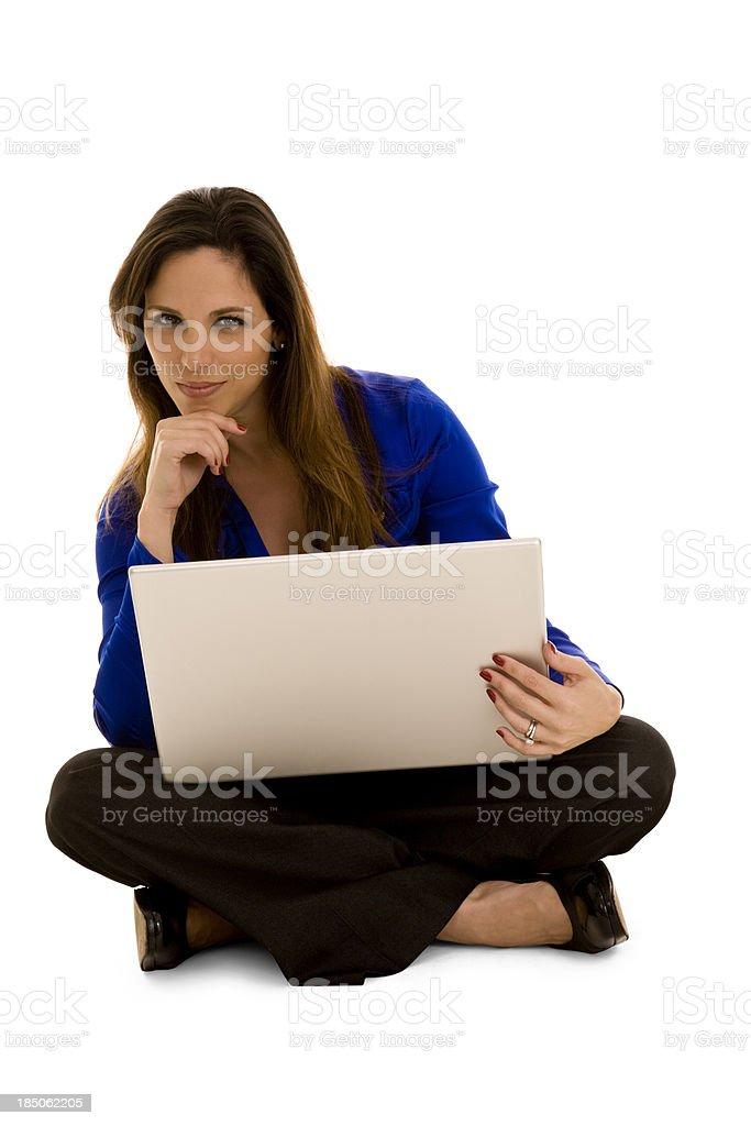Hispanic businesswoman using laptop stock photo