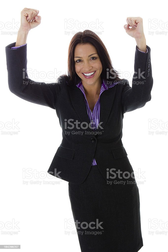 Hispanic Businesswoman with arms in air isolated on white stock photo