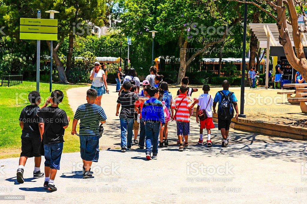 Hispanic children at the La Brea Tar Pits Museum LA stock photo