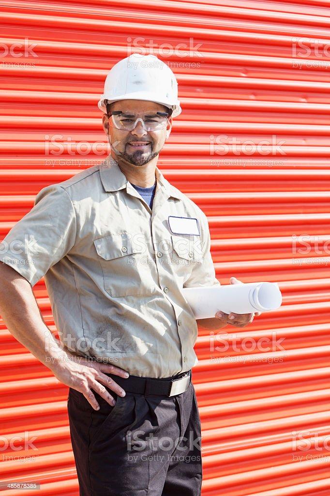 Hispanic construction worker royalty-free stock photo