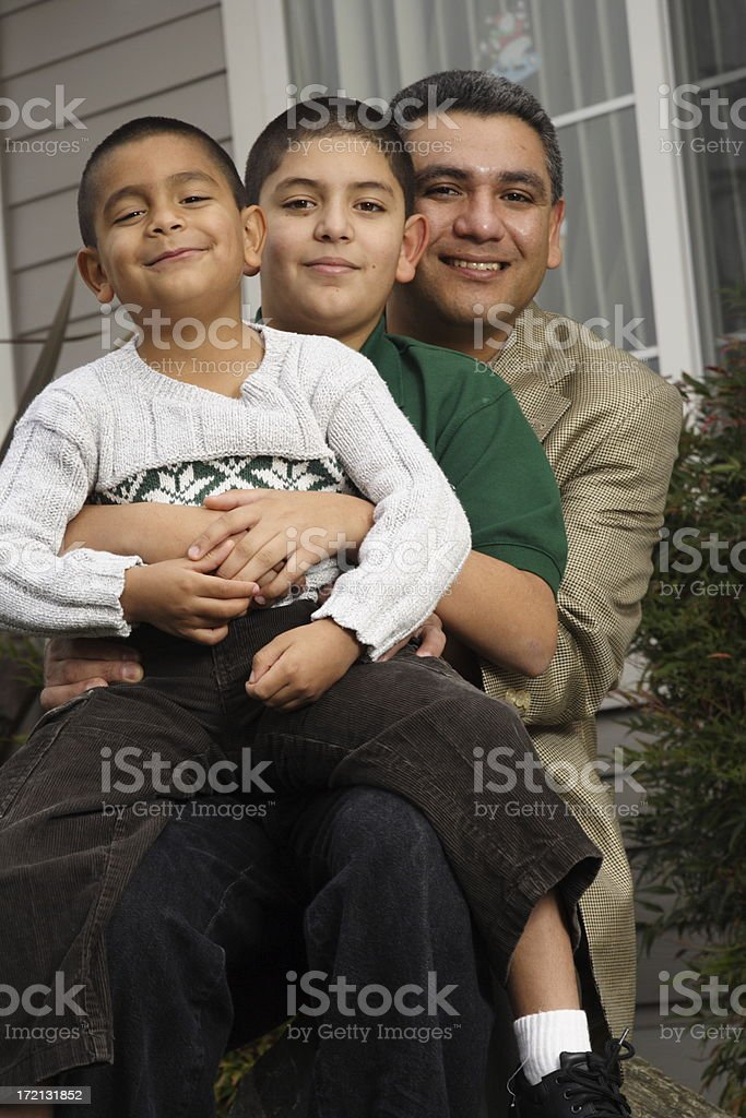 hispanic dad and the kids royalty-free stock photo