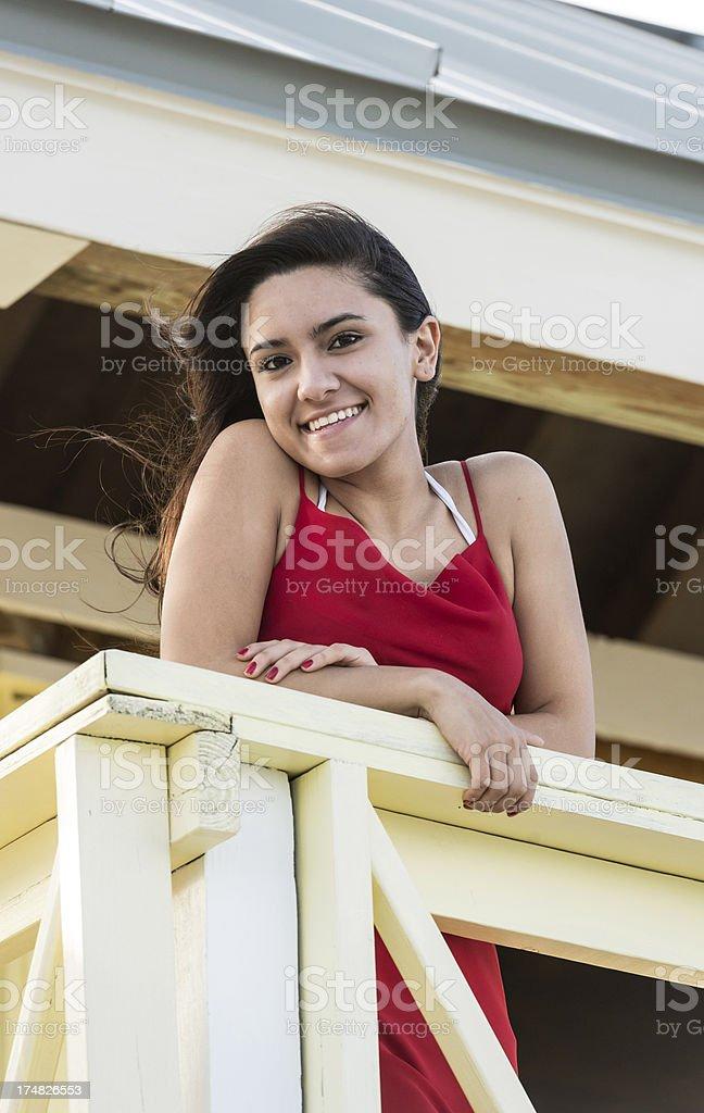 Hispanic eighteen years old girl stock photo