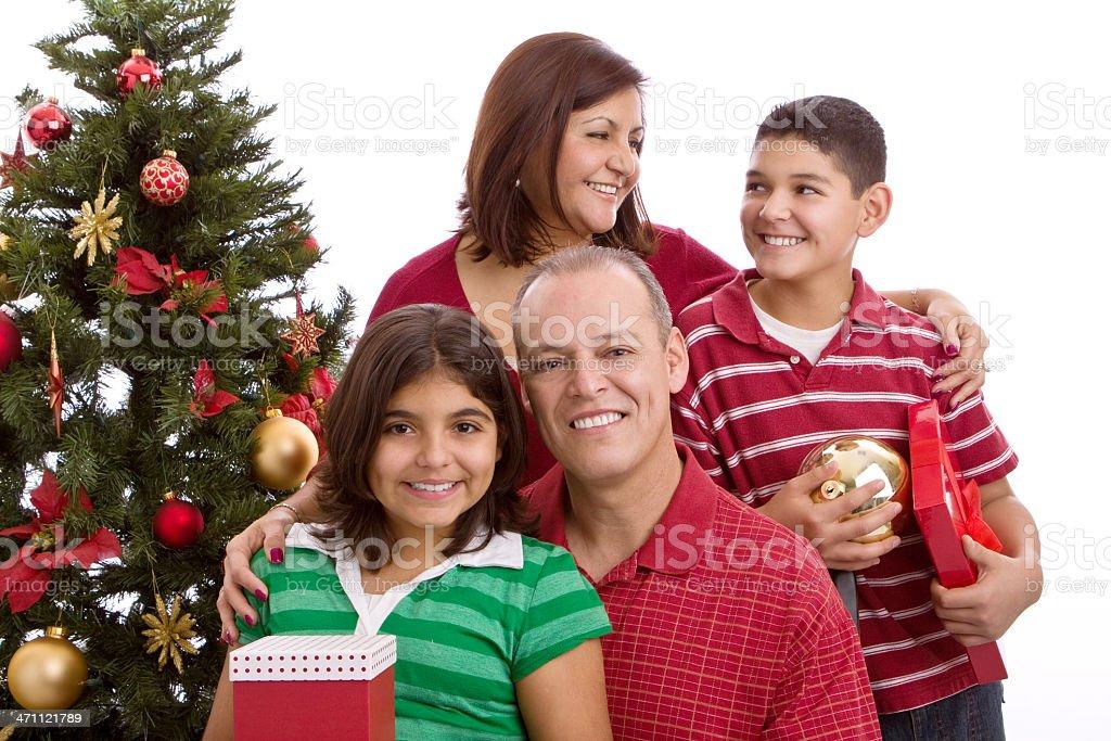 Hispanic Family at Christmas royalty-free stock photo