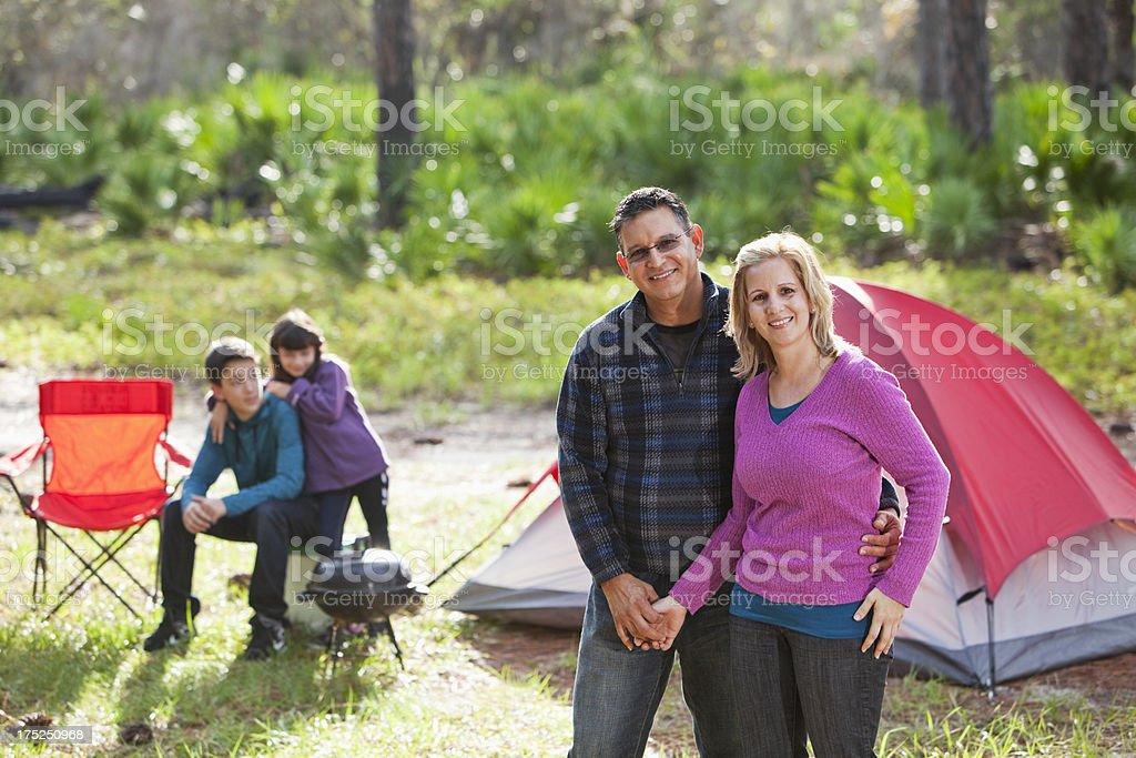 Hispanic family camping stock photo