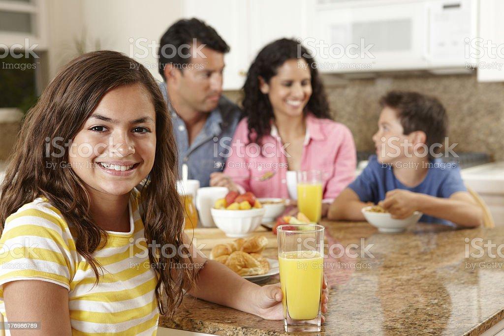 Hispanic family eating breakfast royalty-free stock photo