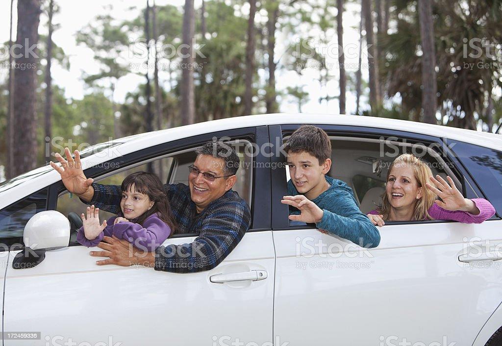Hispanic family on road trip stock photo