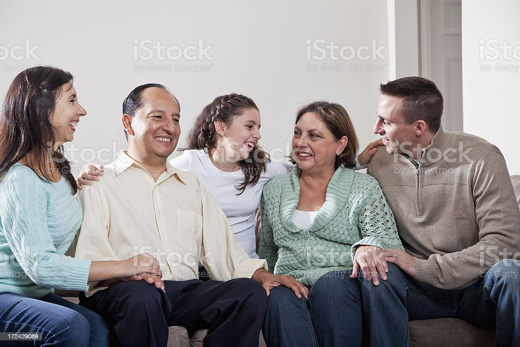 Hispanic family portrait stock photo