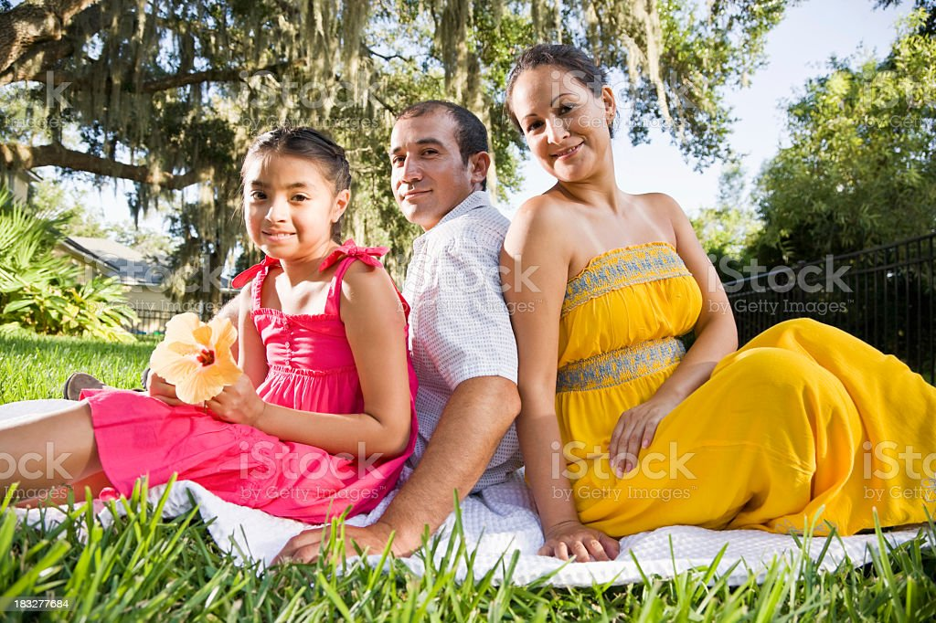 Hispanic family sitting together on blanket in grass royalty-free stock photo