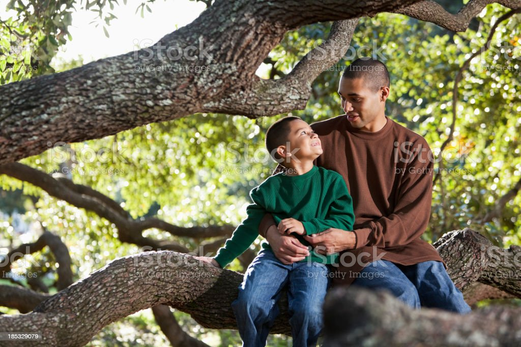 Hispanic father and son sitting in tree at park talking stock photo