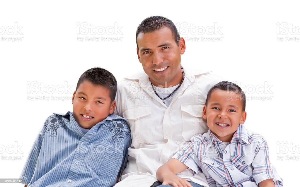 Hispanic Father and Sons on White stock photo