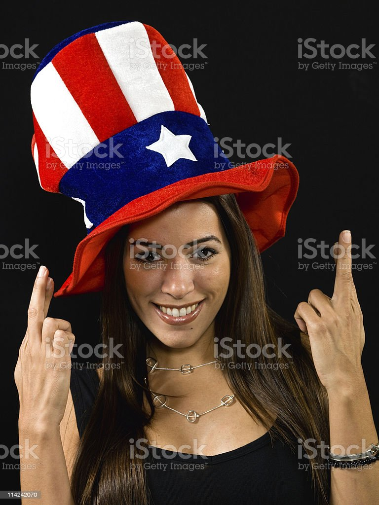 Hispanic female voter stock photo