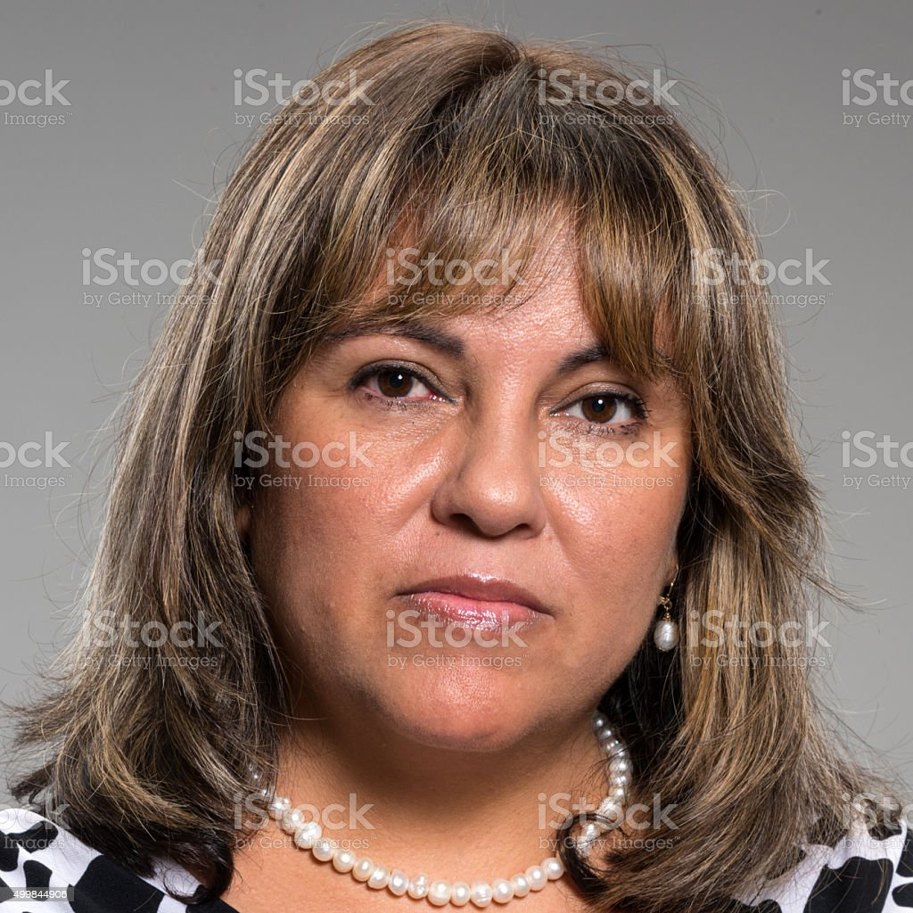 Hispanic fifty something woman stock photo