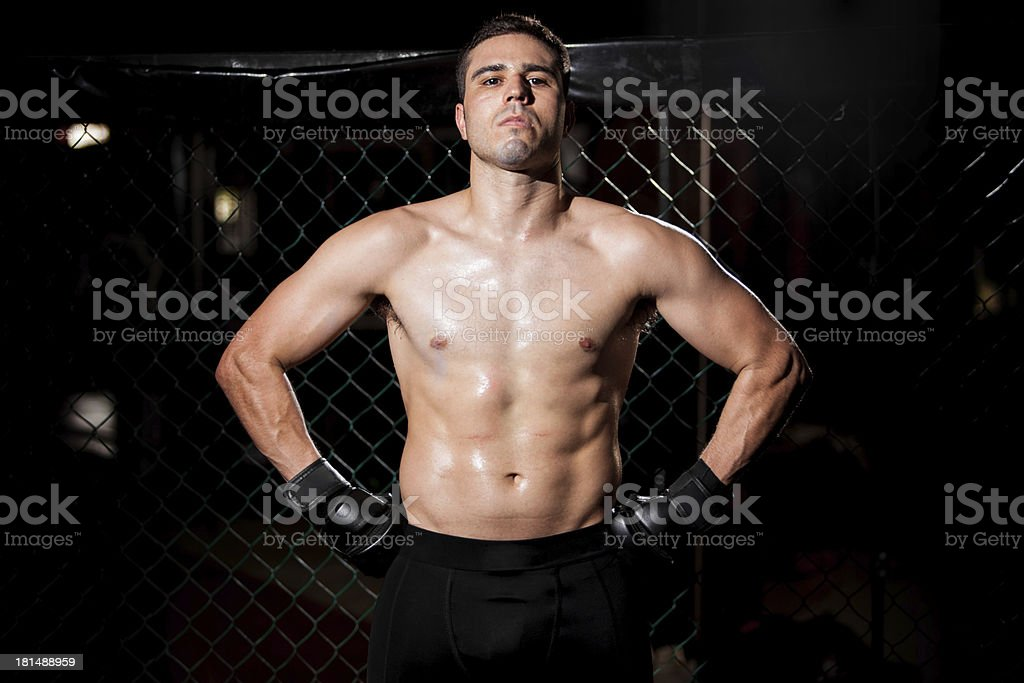 Hispanic Fighter in a cage royalty-free stock photo