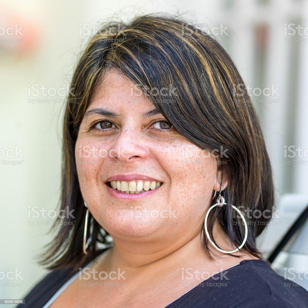Hispanic forty something woman stock photo