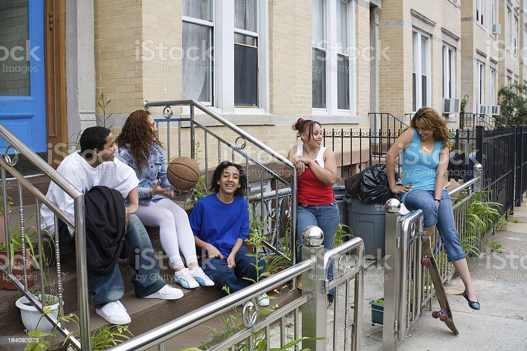 Hispanic friends having fun (series) stock photo