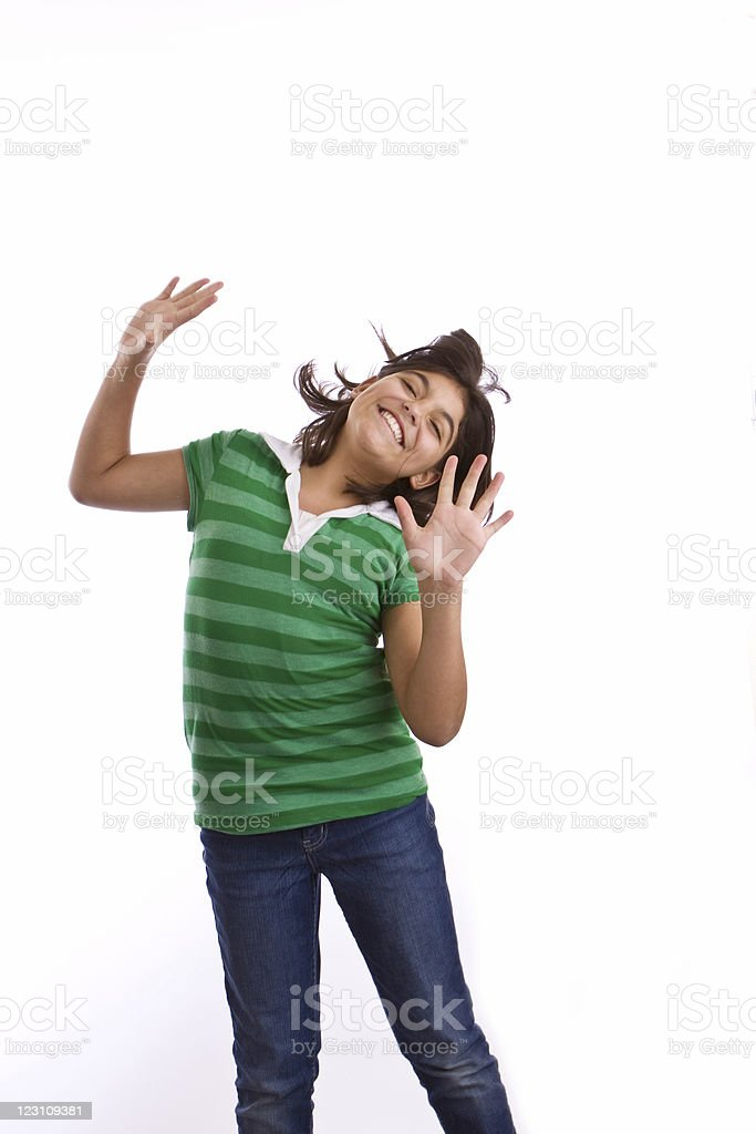 Hispanic girl jumping royalty-free stock photo